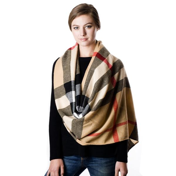 Women S Check Pattern Fringe Fashion Winter Warm Scarf Ebay